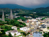 Overhead of Town with Surrounding Hills, Clifden, Ireland Photographic Print by Richard Cummins