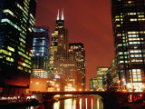 Chicago River and Downtown Buildings at Night, Chicago, United States of America Photographic Print by Richard Cummins