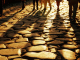 Via Sacra Cobblestones and Pedestrian Shadows at Roman Forum, Rome, Italy Photographic Print by Johnson Dennis