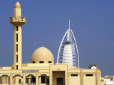 Mosque Beside Burj Al Arab Hotel, Dubai, United Arab Emirates Photographic Print by Holger Leue