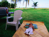Boy Sleeping Outside Vaoto Lodge, Manua'a Islands, American Samoa Photographic Print by Peter Hendrie