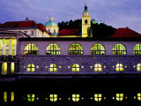 Plecnik Colonnade and Cathedral of St. Nicholas at Dusk, Ljubljana, Slovenia, Photographic Print