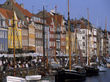 Nyhavn Boats and Cafes, Copenhagen, Denmark Photographic Print by Holger Leue