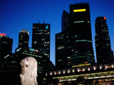 Merlion and City Skyline at Dusk, Singapore, Singapore Photographic Print by Michael Coyne