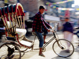 Cycle Rickshaw on Street, Kathmandu, Nepal Photographic Print by Christian Aslund