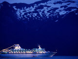A Cruise Ship on Lynn Canal, Lit Up in the Early Evening, Alaska, Lynn Canal, USA Photographic Print by Mark Newman