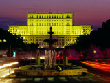Palace of Parliament and Fountains in Unirri Square at Dusk, Bucharest, Romania Photographic Print by Richard I'Anson