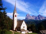 San Giacomo Church and Sassolungo Range Across Val Gardena, Dolomiti Di Sesto Natural Park, Italy Photographic Print by Richard Nebesky