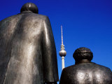 Statues of Karl Marx, Friedrich Engels with Television Tower in Background, Berlin, Germany Photographic Print by Krzysztof Dydynski