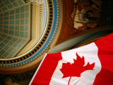 Interior of Parliament House with Canadian Flag in Foreground, Victoria, Canada Photographic Print by Lawrence Worcester