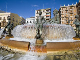 Turia Fountain, Plaza De La Virgen, La Seu & El Mercat, Valencia, Spain Photographic Print by Greg Elms