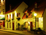 Historic Restaurant at Night, Quebec City, Canada Photographic Print by Wayne Walton