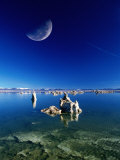 Moon Over Tufa Formations, Mono Lake Tufa State Reserve, Mono Lake, U.S.A. Photographic Print by Mark Newman