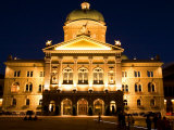 Bundeshauser (Parliament) Building Illuminated at Night, Bern, Switzerland Photographic Print by Glenn Beanland