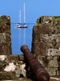 Cannon at Ruins of San Jeronimo Fort (1753), Yacht in Background, Portobelo, Panama Photographic Print by Alfredo Maiquez