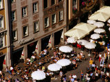 Overhead of Outdoor Cafes on Marienplatz, Munich, Germany Photographic Print by Krzysztof Dydynski
