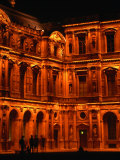 Louvre Museum Facade Illuminated Night, Paris, France Photographic Print by Mark Newman