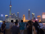 Dusk on the Bund Looking to Pudong Skyline, Shanghai, China Photographic Print by Greg Elms
