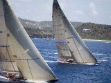 Aerial Photo of J-Class Cutters, Antigua Classic Yacht Regatta, Antigua & Barbuda Fotografiskt tryck av Holger Leue
