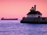 South Breakwater Outer Lighthouse at Dawn, with Ship on Horizon, Duluth Harbor, Duluth, USA Photographic Print by Richard Cummins