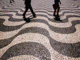 People Crossing Praca Dom Pedro IV (Rossio), Lisbon, Portugal Photographic Print by Martin Llad&#243;