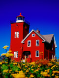 Bright Red Two Harbors Lighthouse with Flowers in Foreground, Lake Superior, Two Harbours, USA Photographic Print by Richard Cummins