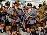 Male Marching Band in Traditional Costume During Oktoberfest, Munich, Germany Photographic Print by Krzysztof Dydynski