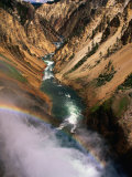 Overhead of Valley and River from Brink of Waterfall, Yellowstone National Park, USA Photographic Print by Carol Polich
