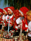 Women Wearing Folk Dress During St. Wenceslas Feast Festival, Kyjovska Vs, Moravany, Czech Republic Photographic Print by Richard Nebesky