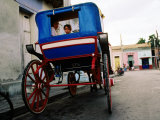 Girl in Horse-Drawn Carriage Taxi, Parque Cespedes, Bayamo, Cuba Photographic Print by Christopher P Baker