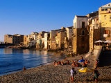 Seaside Resort Beach, Cefalu, Italy Photographic Print by John Elk III
