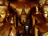 Gilded Buddhas in Wat Jong Kham, Kengtung, Myanmar (Burma) Photographic Print by Frank Carter