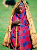 Young Cowherd in Traditional Reed &quot;Raincoat,&quot; Simien Mountains National Park, Ethiopia Photographic Print by Frances Linzee Gordon
