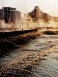 Fountains at Sunset, Unirri Square, Bucharest, Romania Photographic Print by Richard I'Anson