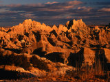 Cliff Shelf at Dusk, Badlands National Park, USA Photographic Print by Carol Polich