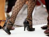 Street Tango Dancers' Legs in San Telmo, Buenos Aires, Argentina Fotografie-Druck von Michael Taylor