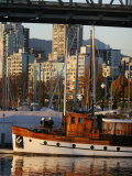 Classic Boat Under Granville Street Bridge, Vancouver, Canada Photographic Print by Lawrence Worcester
