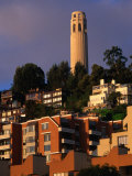 Apartment Buildings with Coit Tower Behind, San Francisco, USA Photographic Print by John Elk III