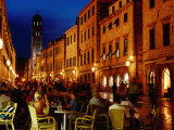 Outdoor Cafe on Placa at Dusk, Dubrovnik, Croatia Photographic Print by Richard I'Anson