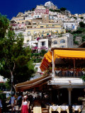 Waterfront Restaurant with Steep Terrace of Houses in Background, Positano, Italy Photographic Print by Dallas Stribley