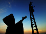 In Search of Reason Statue by Sculpter Sergio Bustamante at Sunrise, Puerto Vallarta, Mexico Photographic Print by Anthony Plummer