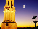 Statue, Moon and Satellite Dish, Griffith Observatory, Griffith Park, Hollywood, Los Angeles, USA Photographic Print by Richard Cummins