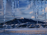 Icicles Hanging in Front of Mountain, Bridger Mountains, Gallatin Valley, USA Photographic Print by Carol Polich