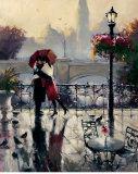 Les amoureux enlacés sous leur parapluie, sur un pont Affiches par Brent Heighton