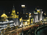 Night View of Colonial Buildings on the Bund, Shanghai, China Photographic Print by Keren Su