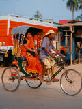 Indian Man in Bicycle Rickshaw, India Photographic Print by Dee Ann Pederson