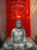 Buddha at Ornate Red Door, Ubud, Bali, Indonesia Photographic Print by Tom Haseltine
