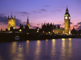 Big Ben, Houses of Parliament and the River Thames at Dusk, London, England Photographic Print by Howie Garber