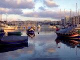Harbor Port Scene with Boats, Valletta, Malta Fotografie-Druck von Robin Hill