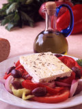 Salad and Bottle of Cretan Olive Oil, Crete, Greece Fotografisk tryk af Steve Outram